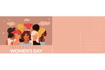 International womans day card. Multiethnic women portraits, beautiful