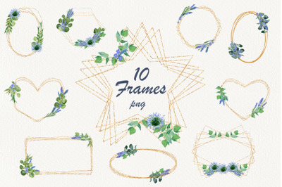 Gold frames with lavender and eucalyptus