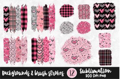 Valentine Sublimation Brush Stoke and Background Bundle PNG