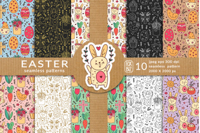 Happy Easter seamless patterns. Vector, Jpeg