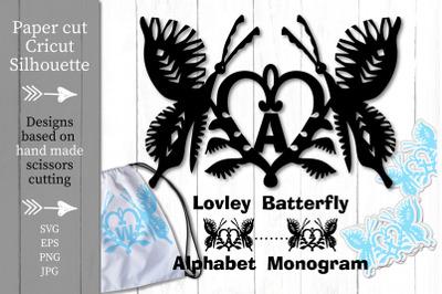 Butterfly Alphabet Monogram Decoration. Paper cut SVG