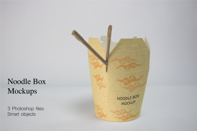 Noodle box packaging Mockups. 3 PSD files with smart objects.