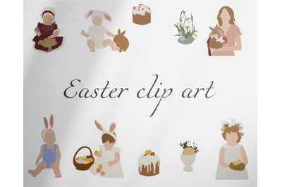 Easter clip art, Abstract girls,cute kids, Bunny Clipart, Rabbit