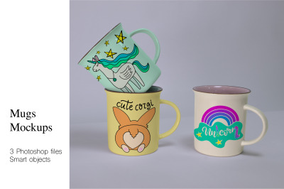 Mugs Mockups. 3PSD files with smart objects.Easy to edit in Photoshop