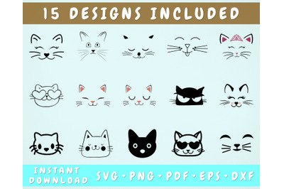 15 Cat Face SVG Bundle, Cricut Cut Files