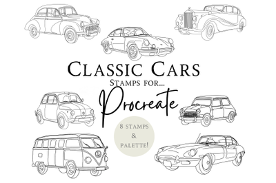 Classic Car Procreate Stamps X 8 and 1 X Palette