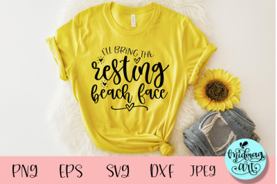 I'll bring the resting beach face svg, wedding party svg