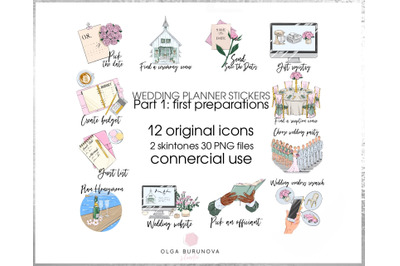 Wedding clipart, wedding icons, wedding printable stickers, wedding pl