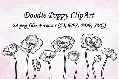 Doodle Poppy Clipart set