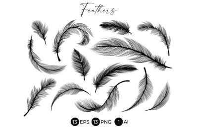 Black Feathers Stencil Boho Line Art Design Elements