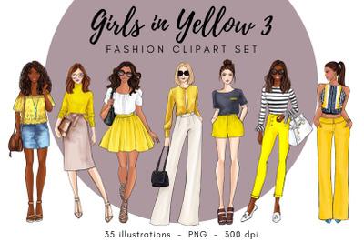 Girls in Yellow 3 Fashion illustration clipart