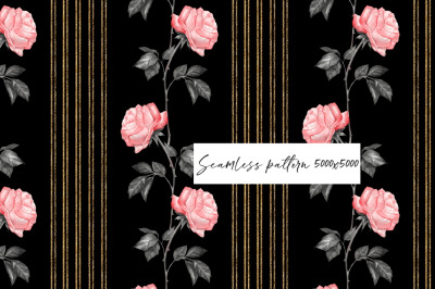 Seamless pattern of roses on black