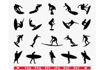 SVG Surfers, Black silhouettes digital clipart