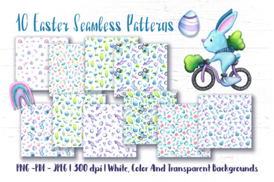 Watercolor Easter Egg Seamless Pattern Set
