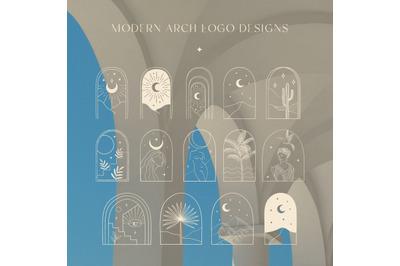 White Color Bohemian Modern Arch Logo Designs. Maiden, cactus, florals
