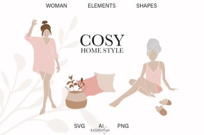 Abstract woman & boho home elements