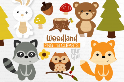 Woodland Animals Clipart Set