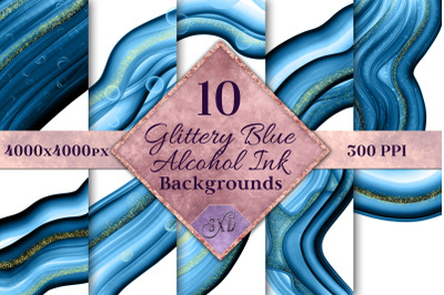 Glittery Blue Alcohol Ink Backgrounds - 10 Image Set
