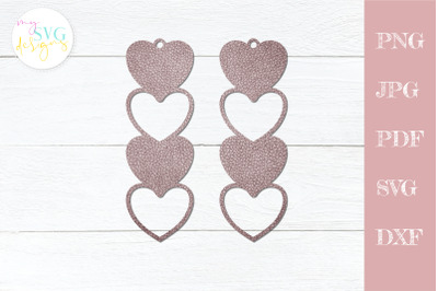 Heart earrings svg, leather earring svg, Teardrop earring svg