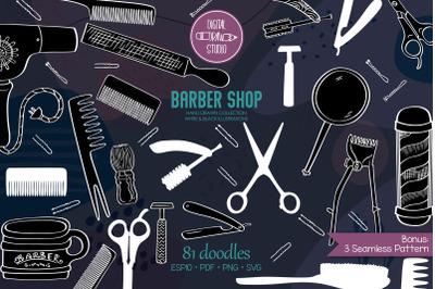 White Barber Shop | Vintage Beauty salon | Hairdresser Doodles