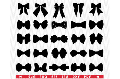 SVG Butterfly Bows, Black silhouettes digital clipart