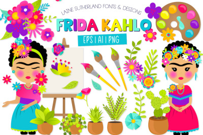 Frida Kahlo Clip Art Set