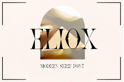 Eliox Modern Serif font.