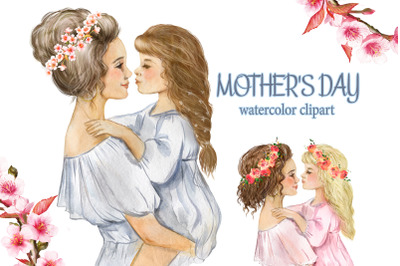 MOTHER'S DAY watercolor clipart. Mother and daughter. little girl