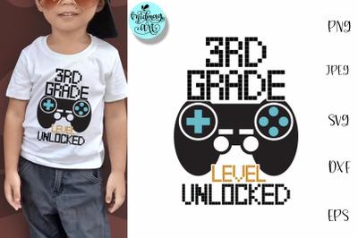3rd grade level unlocked svg, school svg
