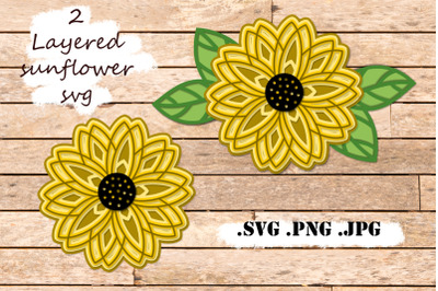 Sunflower Layered SVG - 3 SVG Mandala - Multilayer SVG