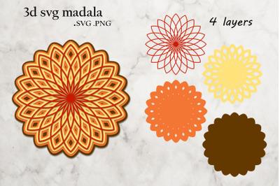 3D Layered Mandala - Multilayered Mandala Cut File - Mandala