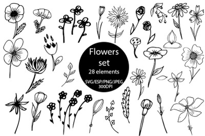 Flowers set SVG.