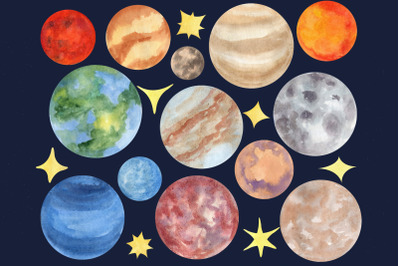 Space clipart, Watercolor planets, Galaxy illustration