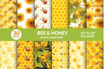 Bee & Honey Digital Papers Bundle