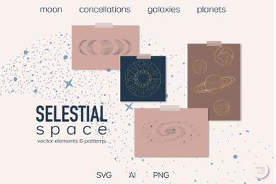 Celestial space vector clip art