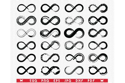 SVG Infinity, Loops , Black silhouette, Digital clipart