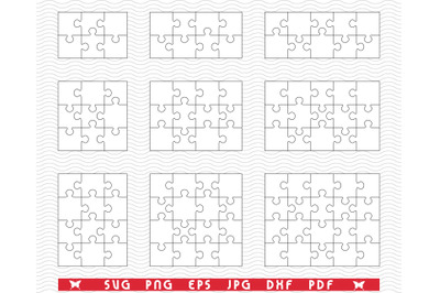 SVG Nine White Puzzles, Separate Pieces digital clipart
