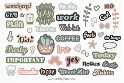 Cute stickers Printable SVG for planners.