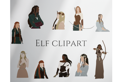 Elf clipart, abstract women, magic set, fairy creatures, vector set, abstract girls