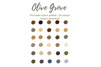 Olive Grove Procreate Colour Palette X 30 Shades