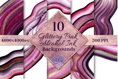 Glittery Pink Alcohol Ink Backgrounds - 10 Image Set