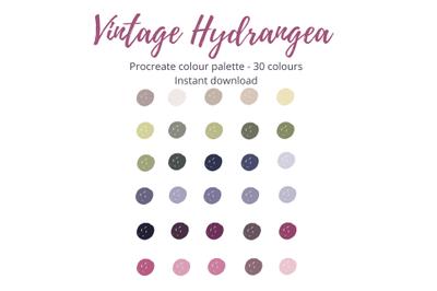 Vintage Hydrangea Procreate Colour Palette X 30 shades!