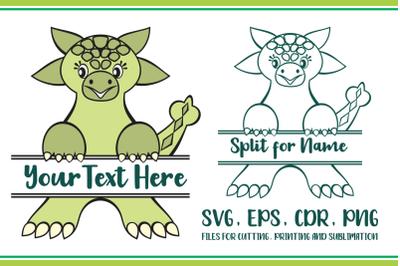 Ankylosaurus Split for Name Svg