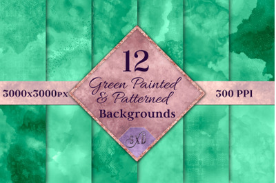 Green Painted and Patterned Backgrounds - 12 Image Textures