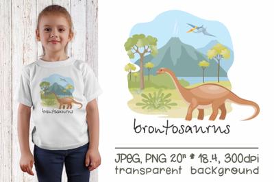 Brontosaurus - sublimation design PNG