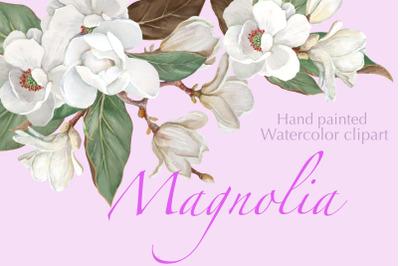Magnolia Flower, Watercolor Floral clip art