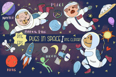 Pugs in space nursery clipart