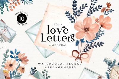 Love Letters Mail Clipart/Watercolor Floral Envelope Clip Arts Vol.1