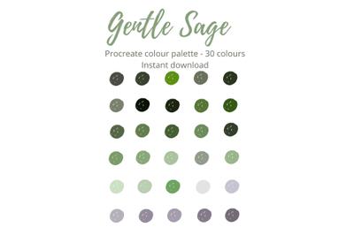 Gentle sage Procreate Colour Palette X 30 Shades