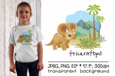 Triceratops - sublimation design PNG